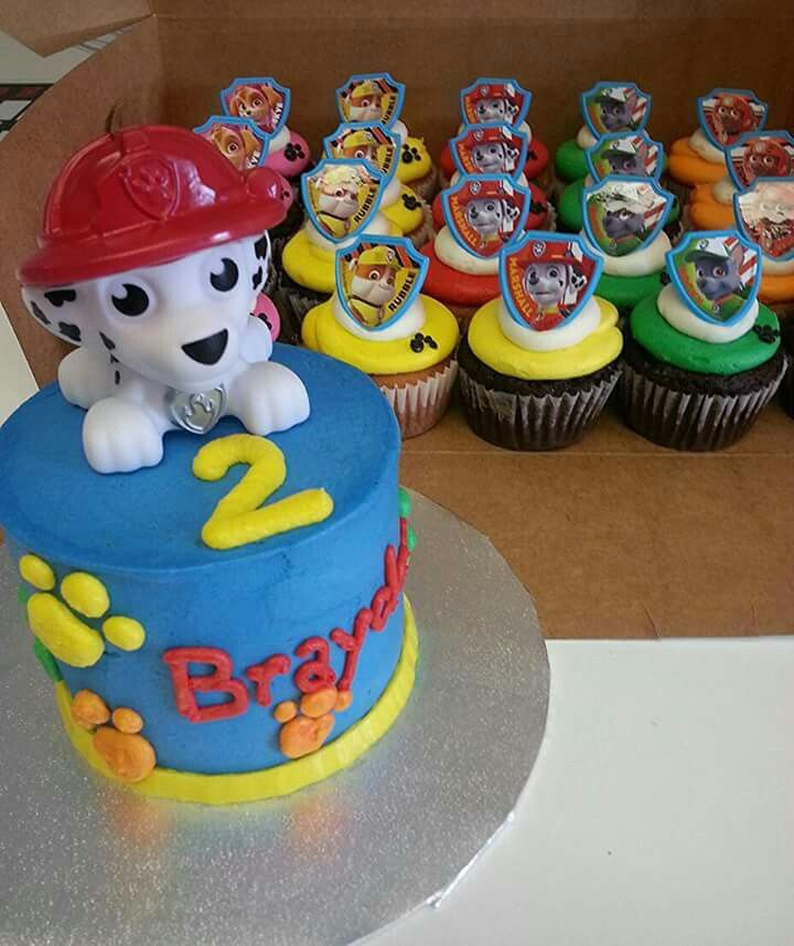 Paw Patrol Smash Cake And Cupcakes With Images Paw Patrol