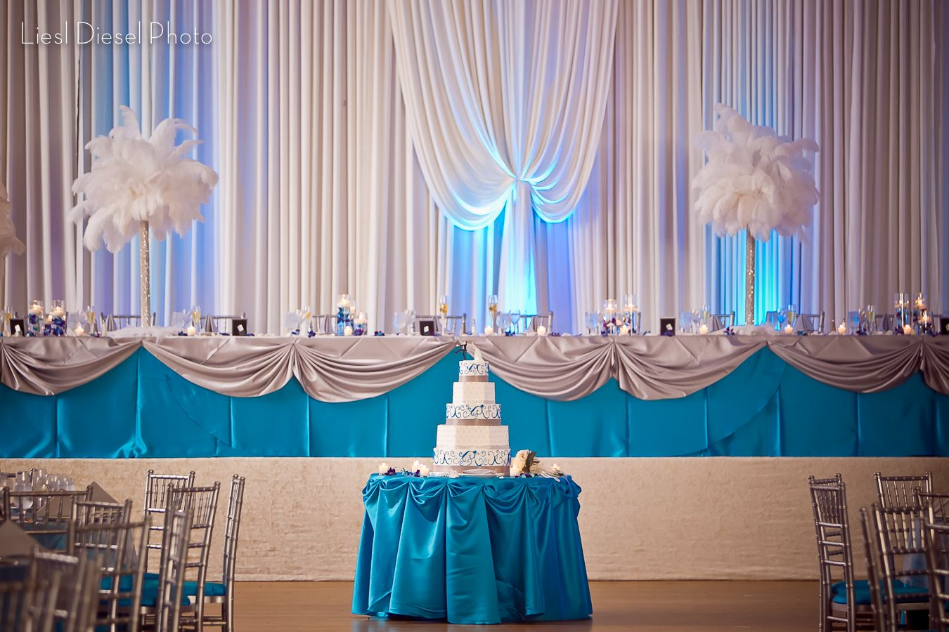 Turquoise And White Reception Decor