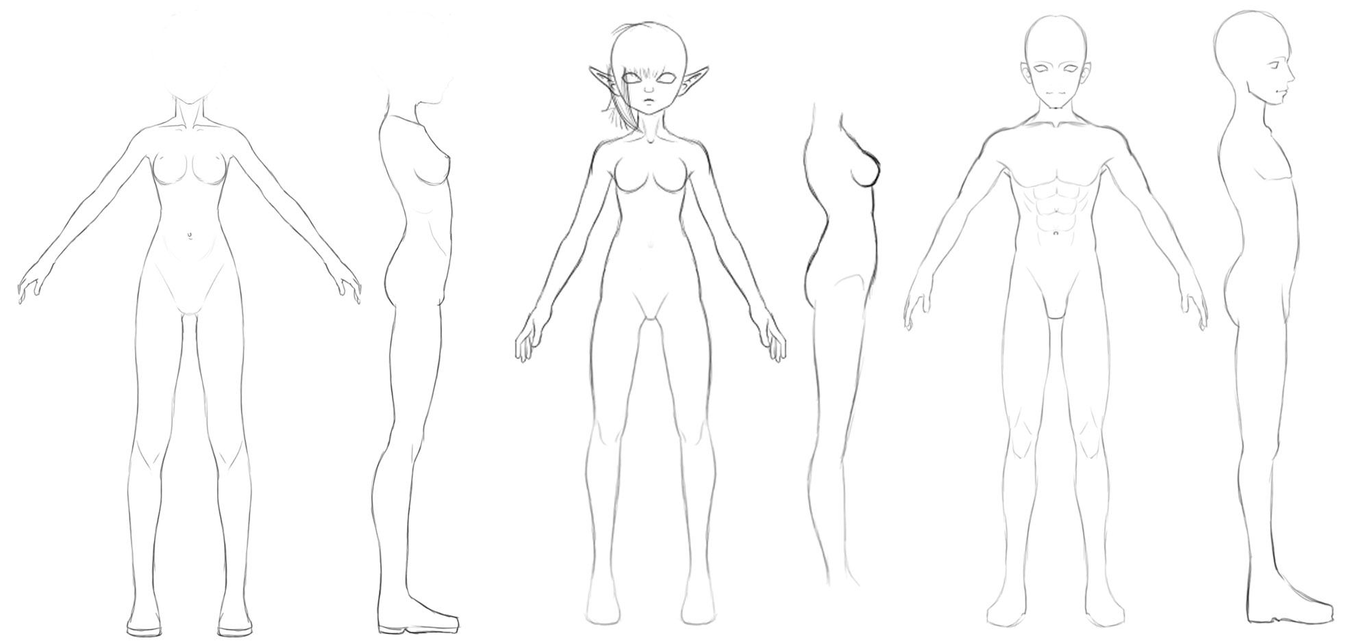 Front And Side Body References By Athey On Deviantart Body Reference Character Model Sheet Female Character Design
