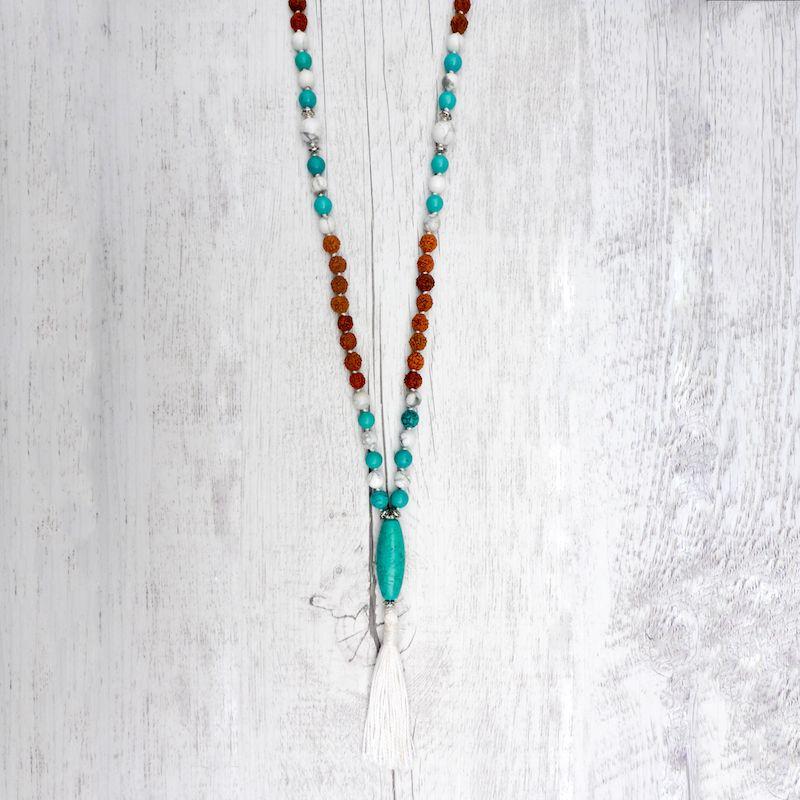 The Beach Lover Mala - Rudraksha, Turquoise and Howlite for adventurers!  Mala Kamala Mala Beads - Boho Malas, Mala Beads, Yoga Jewelry, Meditation Jewelry, Mala Necklaces and Bracelets, Childrens Malas, Bohemian Jewelry and Baby Necklaces