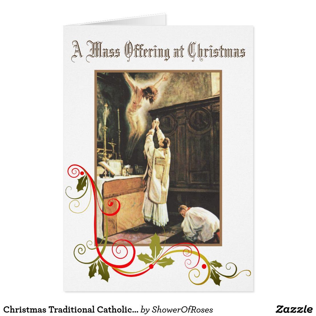 Christmas traditional catholic mass offering card zazzle