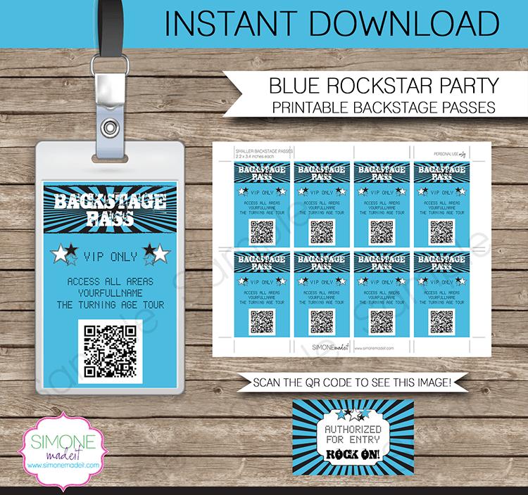 Rockstar Birthday Party Backstage Passes template – blue | Birthdays