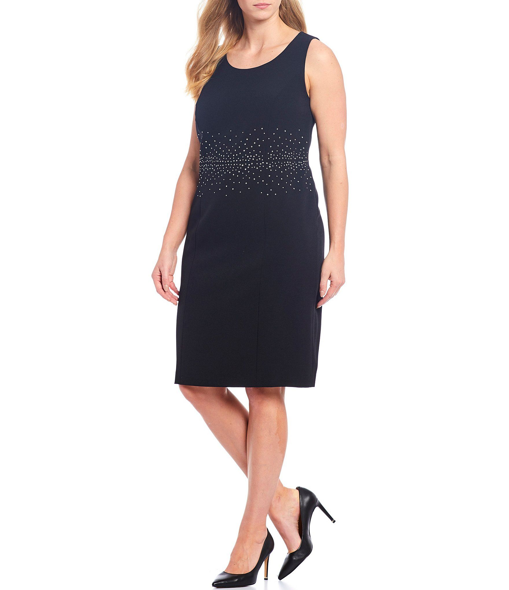 Kasper Plus Size Stretch Crepe Stud Trim Detailed Jewel Neck Sleeveless Dress | Dillard's