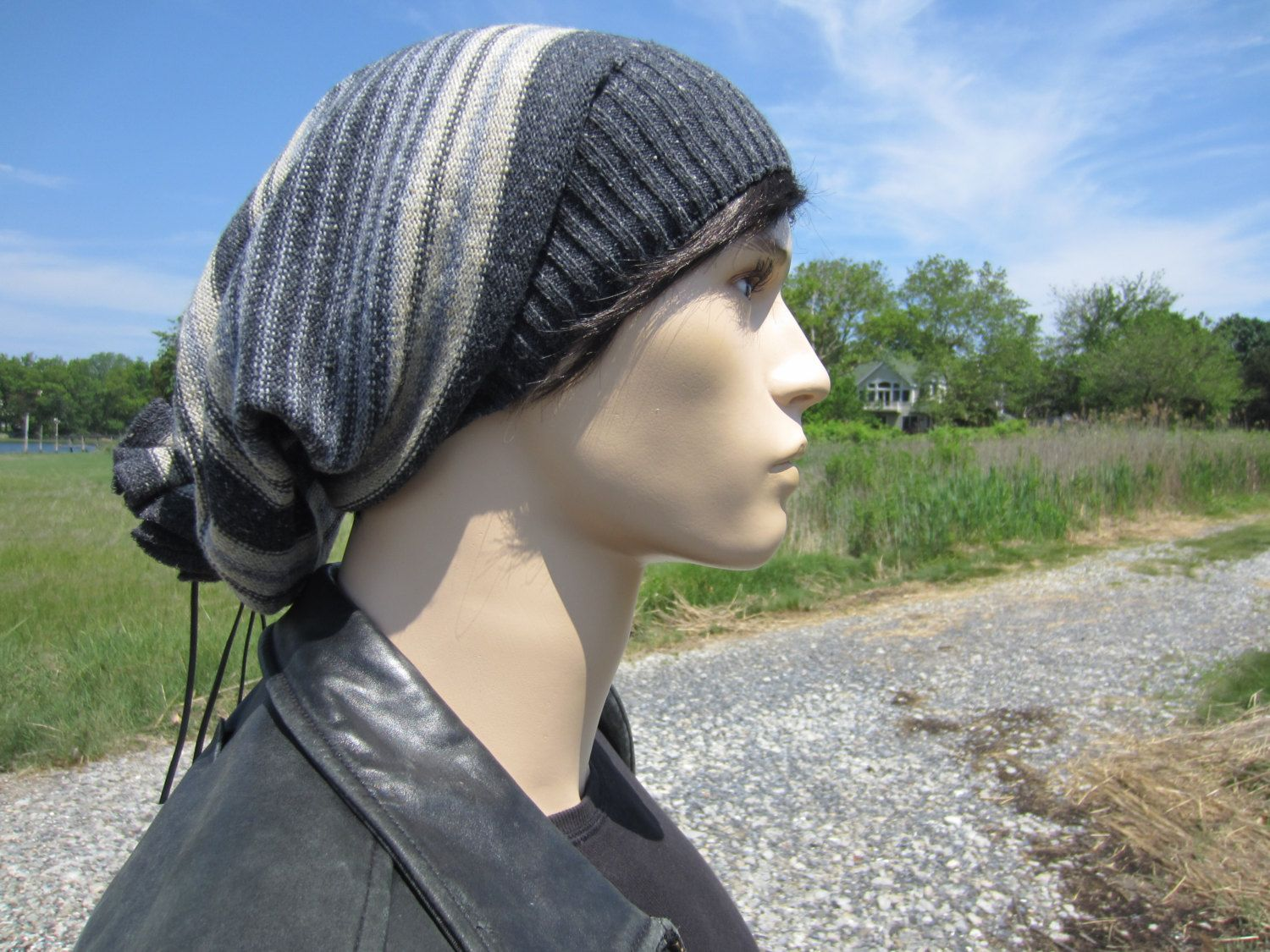 e37fb7fc Big Oversized Tam Tie Back Slouchy Beanie Men's Bohemian Clothing Cotton  Wool Slouch Hat Striped Charcoal Gray Baggy Extra Long A1575 by  Vacationhouse on ...
