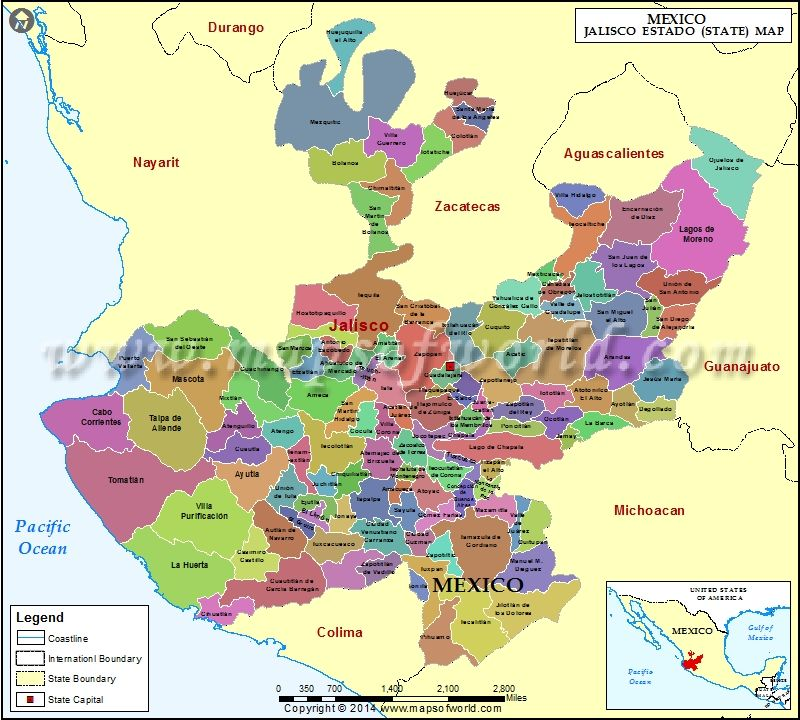 jalisco map explore map of jalisco mexico showing the administrative divisions state boundaries with their capital city