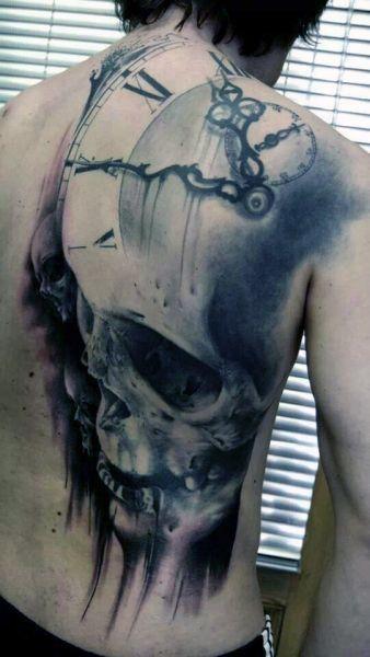 Tatuaże 3d Czaszka I Zegar Tattoos Tatuaże Czaszki