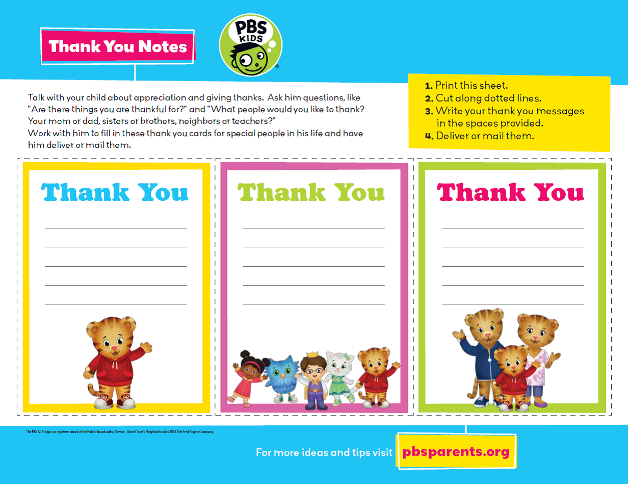 Thank You Notes Activity Talk With Your Child About What People