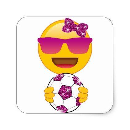 Women Soccer Emoji With Soccer Ball For Girls And Women Square Sticker Soccer Emoji Soccer Gifts Soccer Tshirts