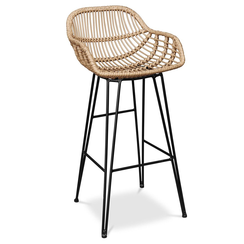 Buy Synthetic Wicker Bar Stool Magony Natural Wood 59256 In The Uk Myfaktory In 2020 Wicker Bar Stools Bar Stools Stool