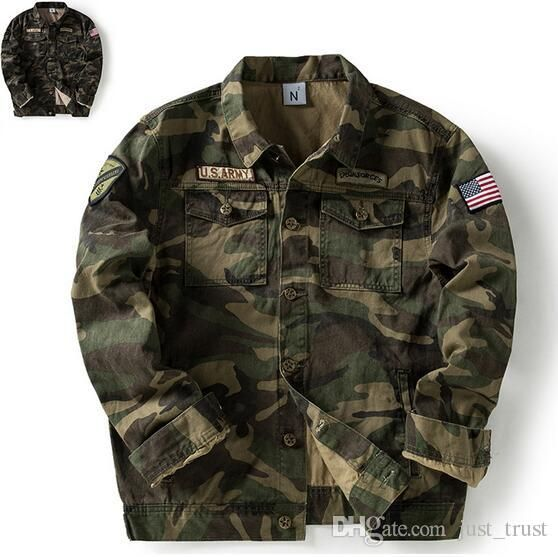 8ee8d20fb452d Top Super Us Army Green Men Jackets Fashion Camouflage Autumn Spring Outerwear  Coats Men'S Clothing Overcoat Male Solider Loose Coat Mens Fall Coats Jacket  ...