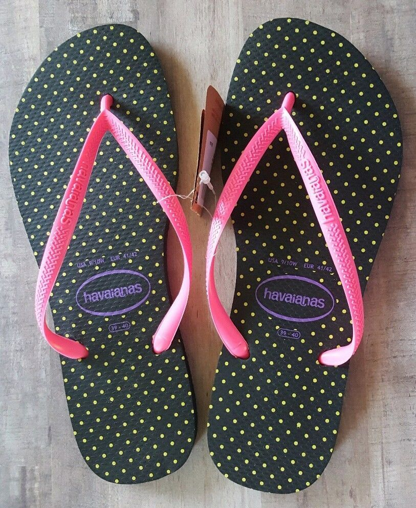 297a0a786103fc NEW Havaianas Size 9 10W Flip Flops Black Neon Pink Yellow Sandals Thong   Havaianas  FlipFlops  Casual