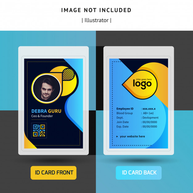 Colorful Identification Or Id Card Template Design For Office Id Card Template Free Printable Business Cards Business Card Design Creative