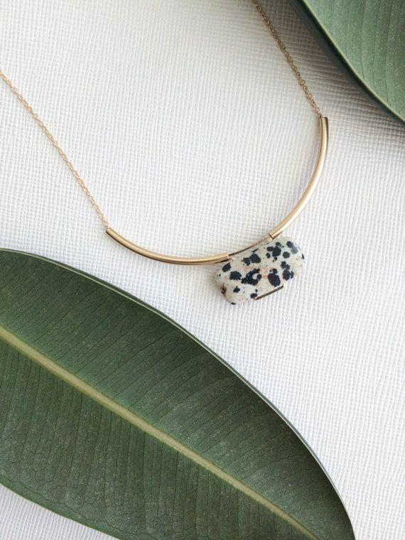 MIES necklace  dalmatian jasper por morningritualjewelry en Etsy