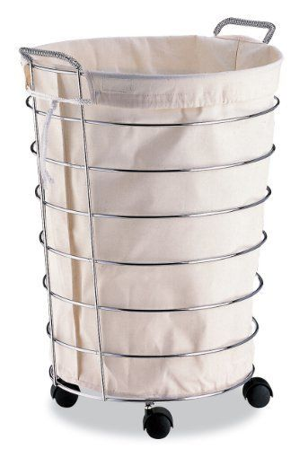 Rolling Chrome Laundry Hamper By Organize It All 68 99 Casters