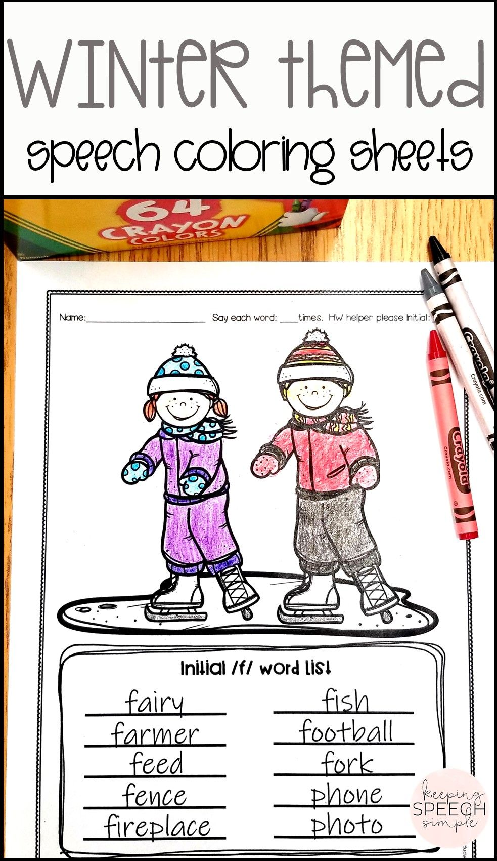 word lists and coloring sheets for speech therapy