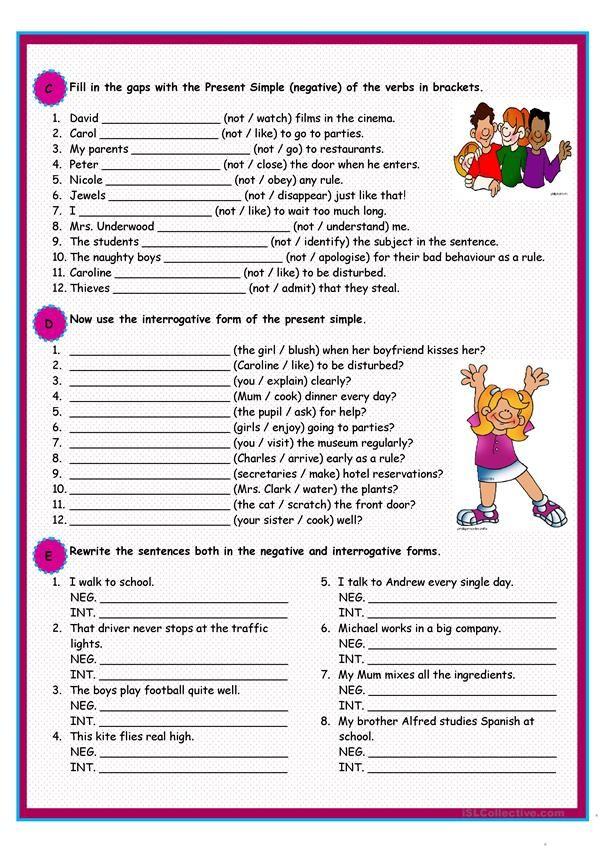 Present Simple Exercícios De Inglês, Caça Palavras Em Ingles, Lições De  Gramática