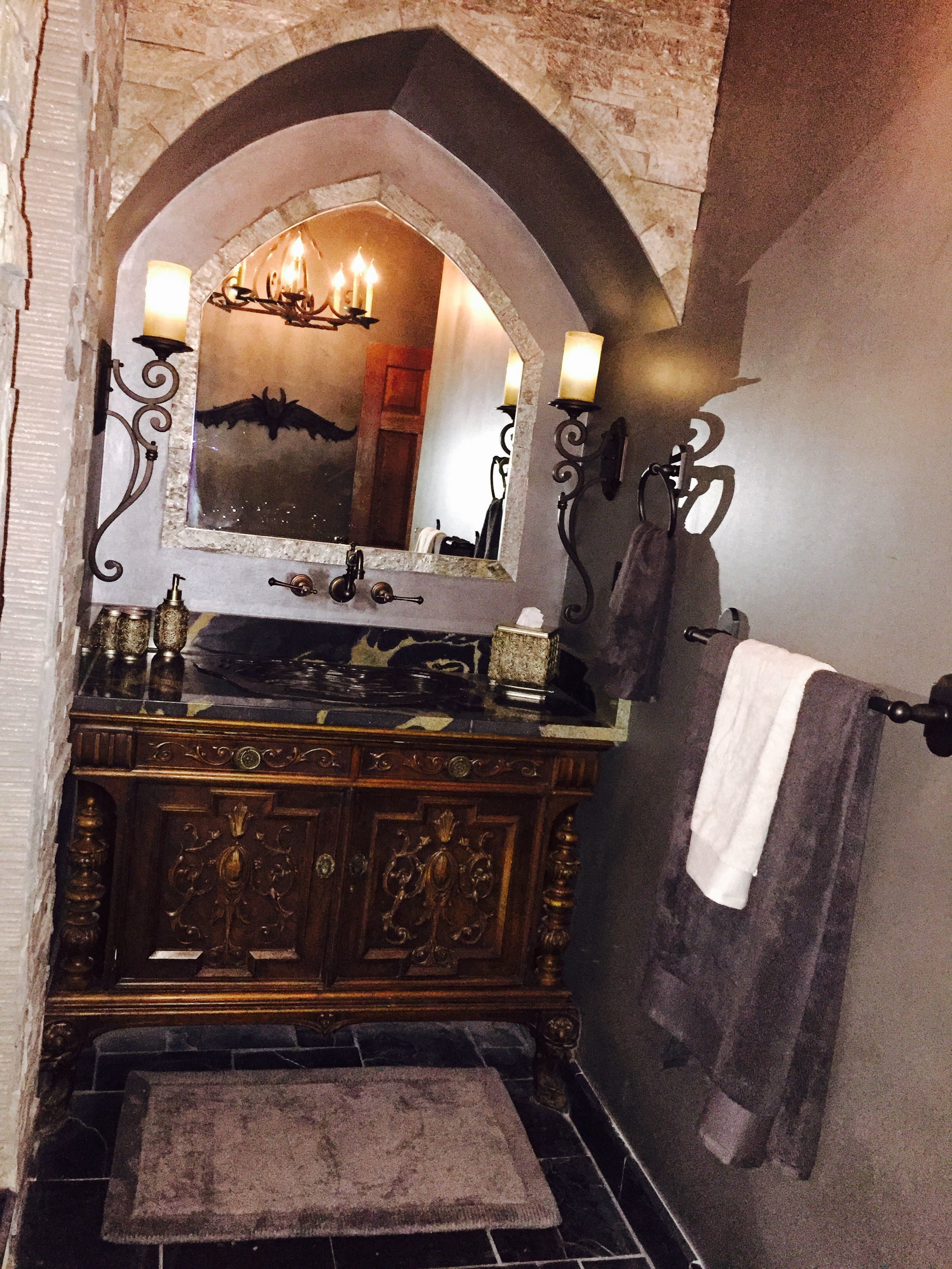 Arched Stone Vanity Area In Our Main Floor Guest Old World Castle Bathroom Old World Bathroom Old World Style Bathroom Styling
