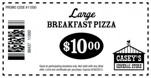 picture relating to Casey's Coupons Printable named Caseys All round Retail store: $10 Breakfast Pizza Printable Coupon