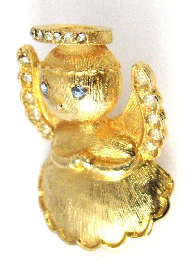 Rhinestone Christmas Angel Pin Signed L. Razza Gold Plated 1960s Figural Rhinestone Guardian Angel by AntiquesAndTeacups on Etsy