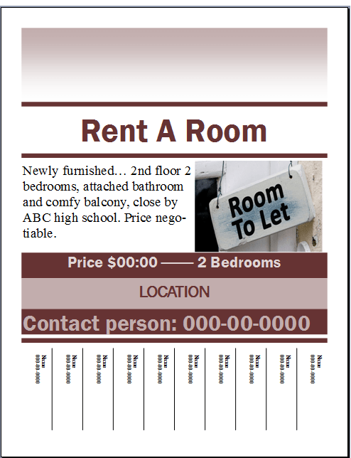 Rent A Room Flyer Template Flyer Template Real Estate Flyer Template Doctors Note Template