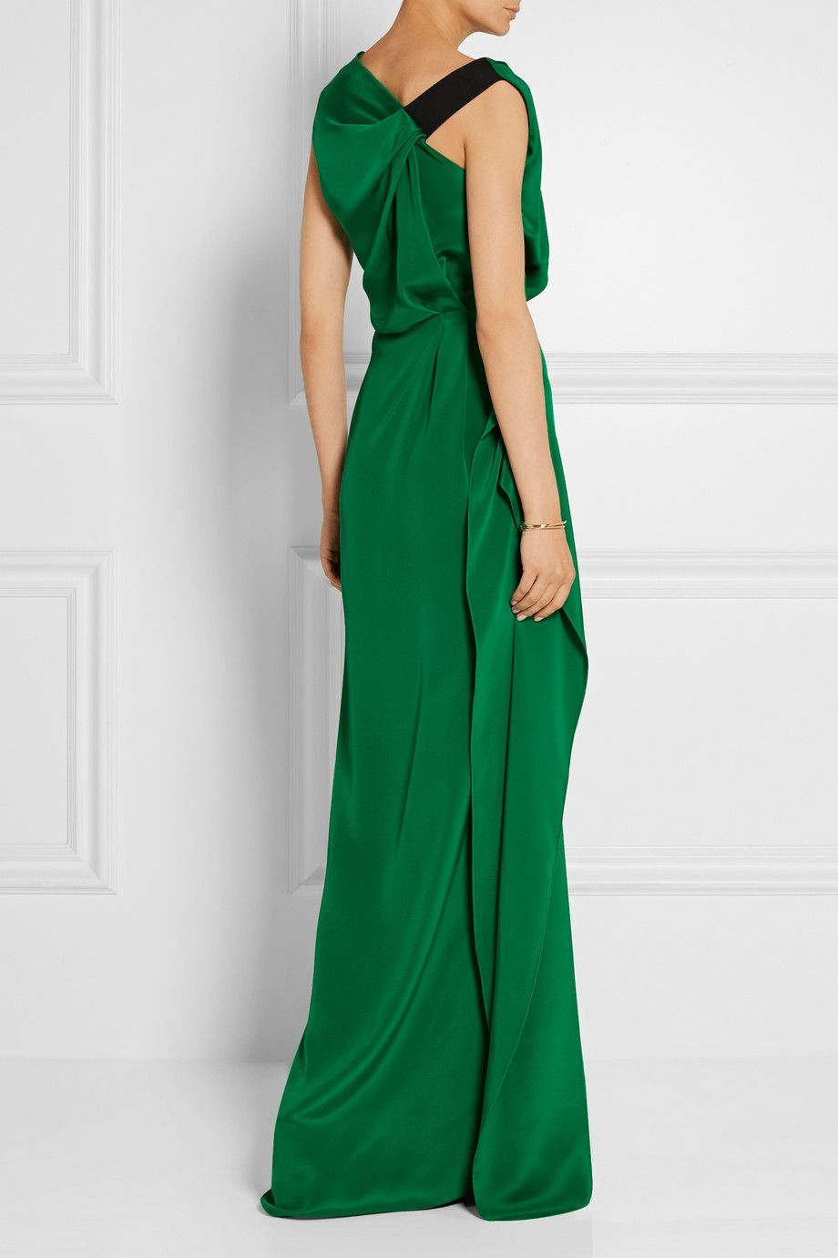 Roland mouret goodard gathered silk crepe de chine gown neta