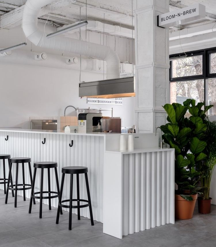 White Minimalistinterior Design: Bloom-n-Brew In Moscow, Russia By Maxim Maximov From