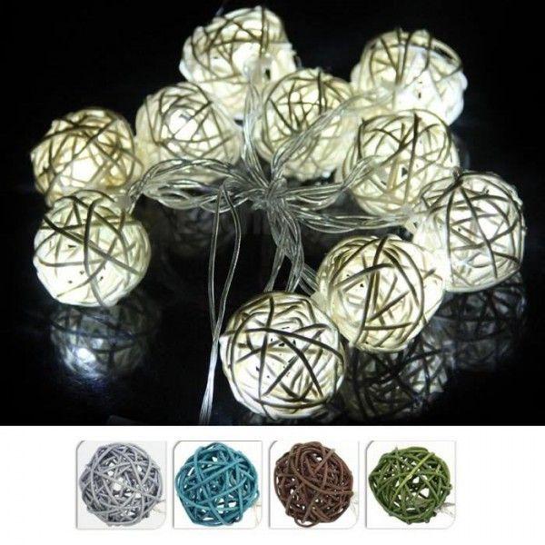 Guirlande lumineuse à pile Boule de Rotin 10 LED   Idées de mariage ... d638b7564542