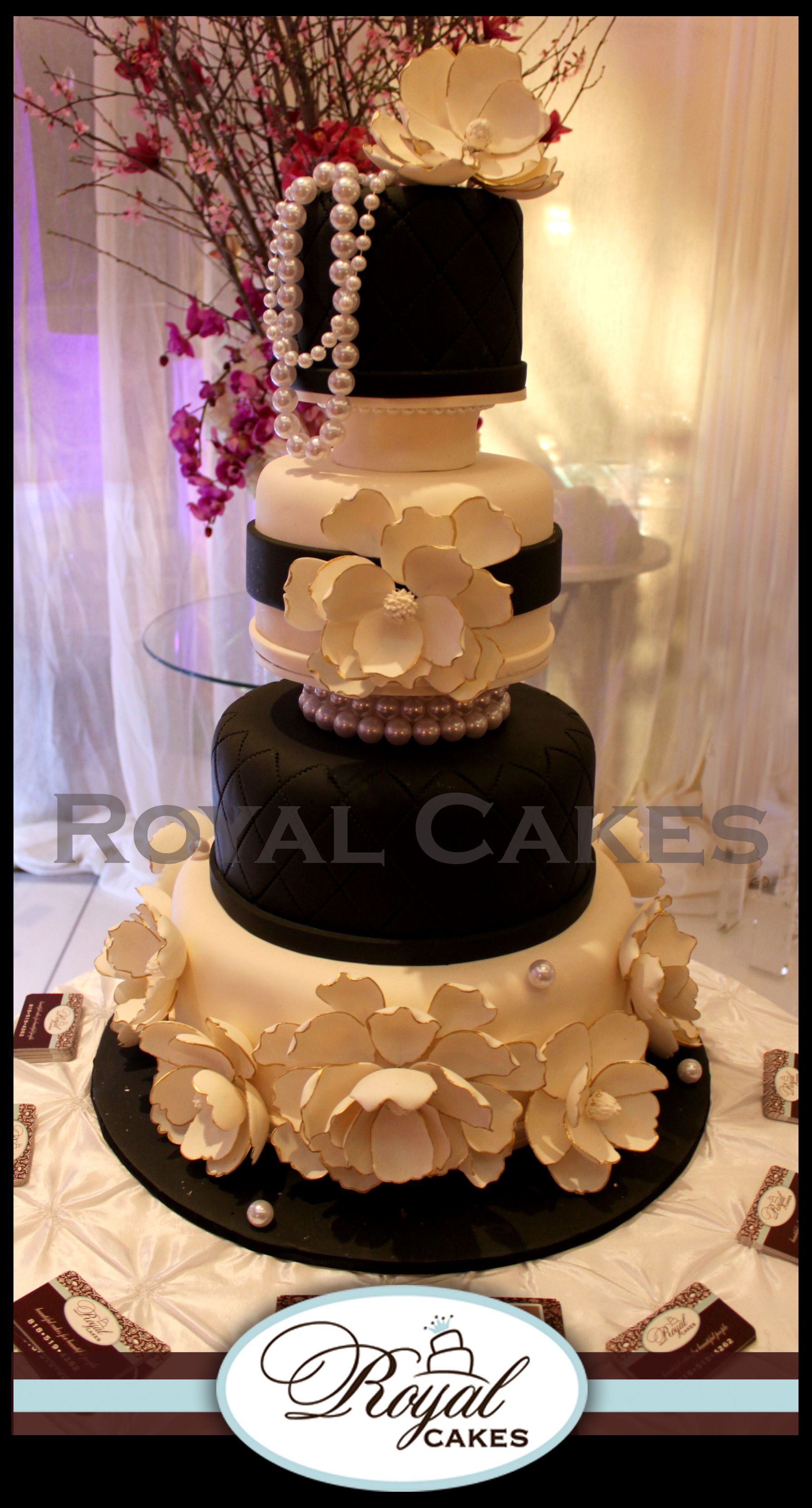 Fashionista contemporary black white designer cake with contemporary black white designer cake with luscious sugar flowers pearls dhlflorist Image collections