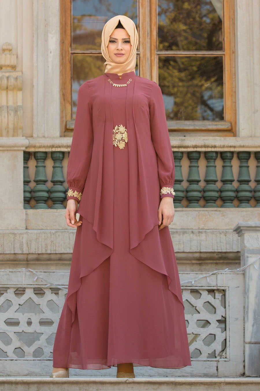 Neva Style Dusty Rose Hijab Evening Dress 52546gk Pakaian