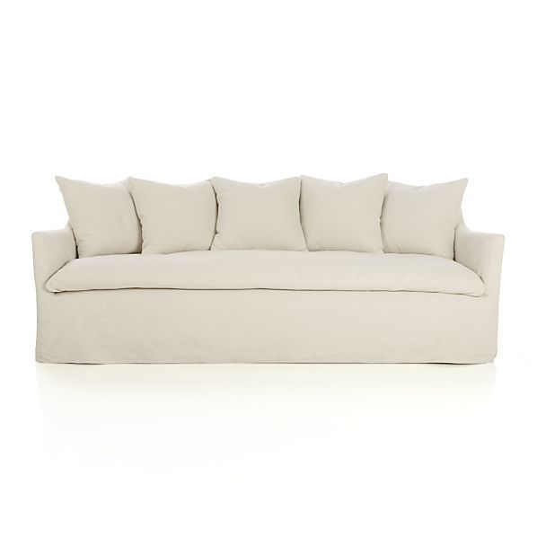 Serene Slipcovered Sofa In Navy Blue For The Media Room Crate Barrel