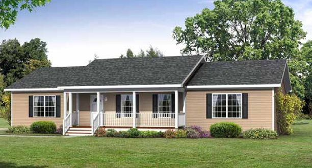 The Carteret Ranch Modular Home With Saddle Roof On 5/12 Roof Pitch.  Description