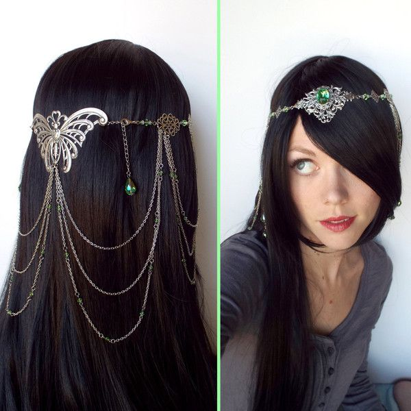 REDUCED PRICE Arwen Headdress from Lord of the Rings in Silver and... (1.210 DKK) ❤ liked on Polyvore featuring hair, accessories and hair accessories