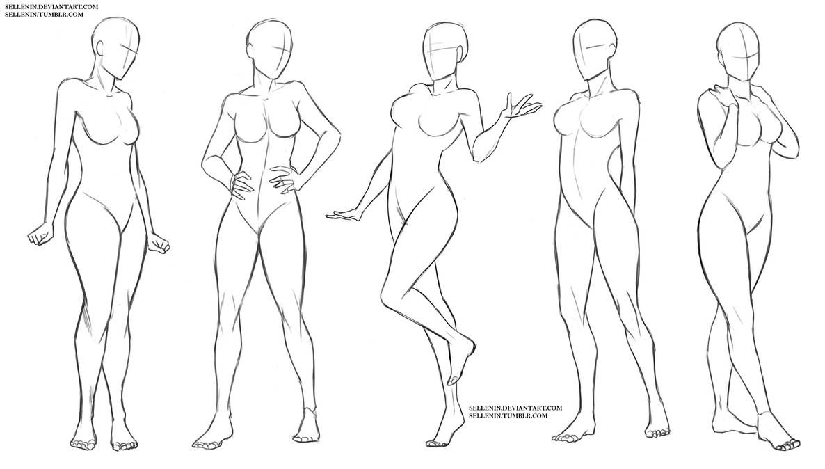 Female Standing Poses By Sellenin On Deviantart In 2020 Body Pose Drawing Drawing Reference Poses Drawing Body Poses