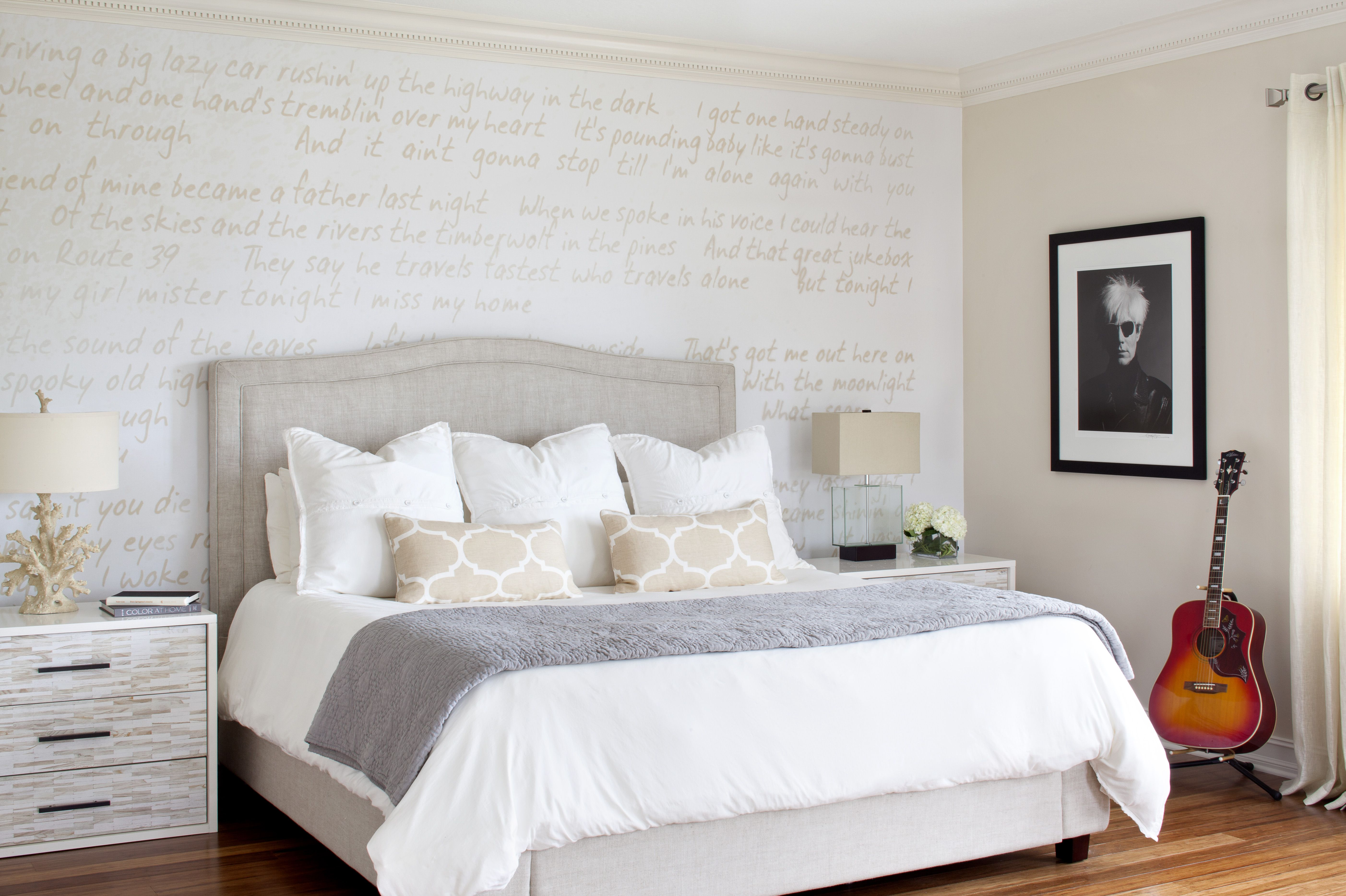 Master bedroom without bathroom  Springsteen lyrics on the master bedroom wall photos by Jessica