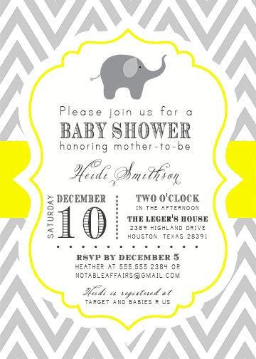 printable gray and yellow chevron elephant baby shower invitation, Baby shower
