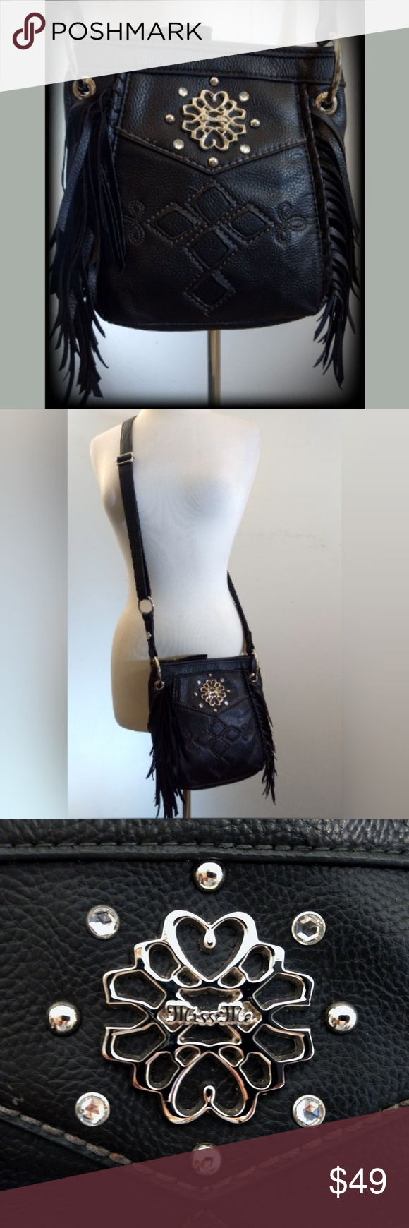 Miss Me Fringe Cross Embellished Crossbody Bag Gorgeous Miss Me Black Faux  Leather Fringe Bag in Excellent Pre-Owned Condition! EXTERIOR  Overall  Condition  ... 555199517df5e