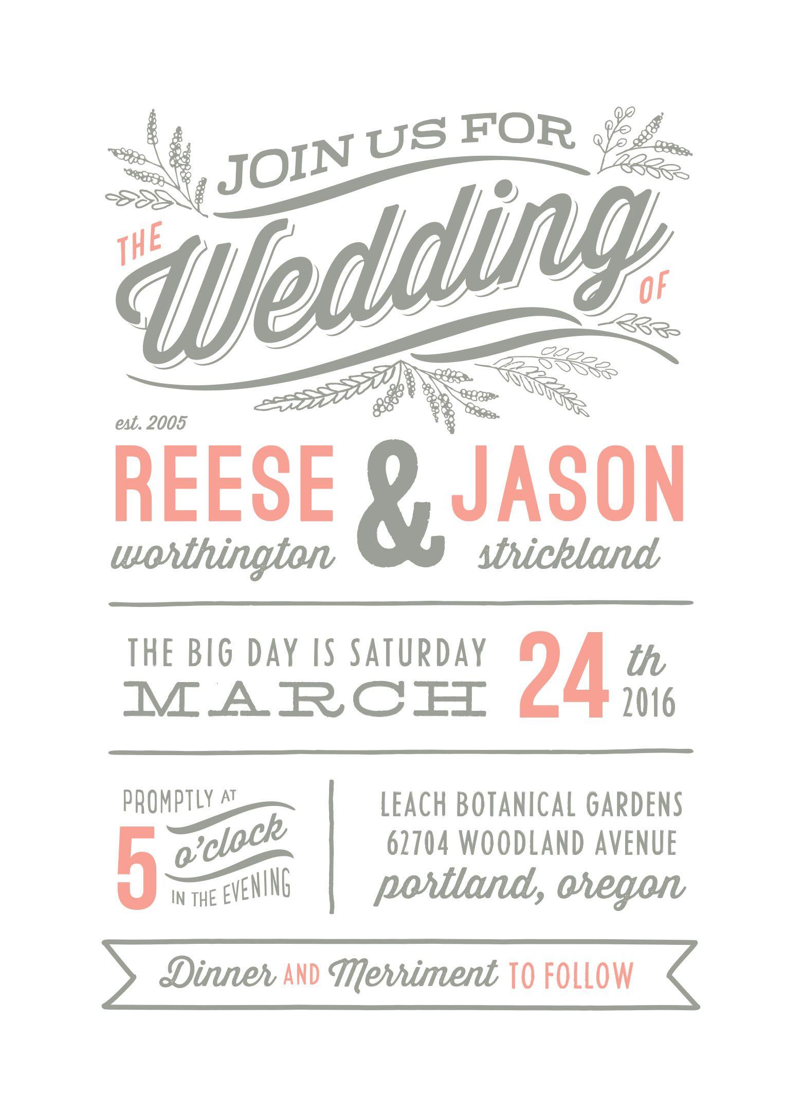 """Rustic Charm"" letterpress wedding invitation by Hooray"