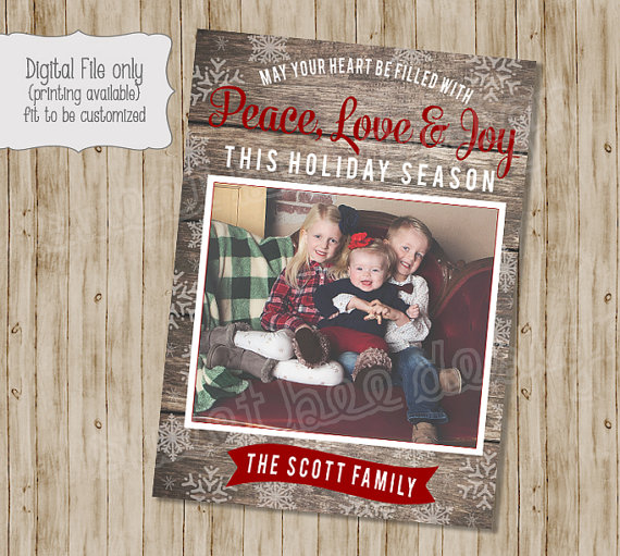 rustic christmas photo card wood holiday photo card holiday - Rustic Christmas Cards