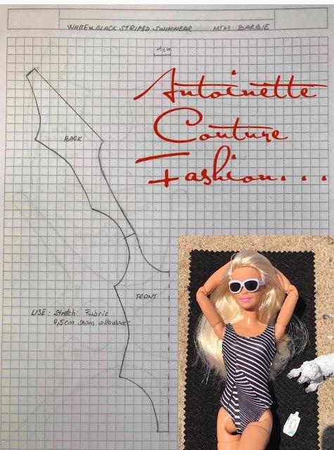 Fashion Dolls Couture - Unlimited: White & Black Stars-W&B Sriped Swimsuit... #dollscouture
