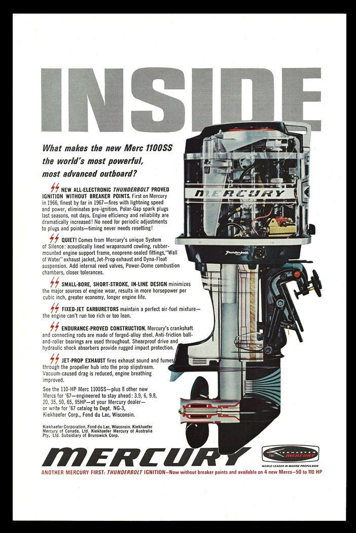 Mercury Merc 1100ss Outboard Motor Cutaway Diagram 1967 Vintage Art Print Ad Mercury Outboard Outboard Boat Motors Outboard