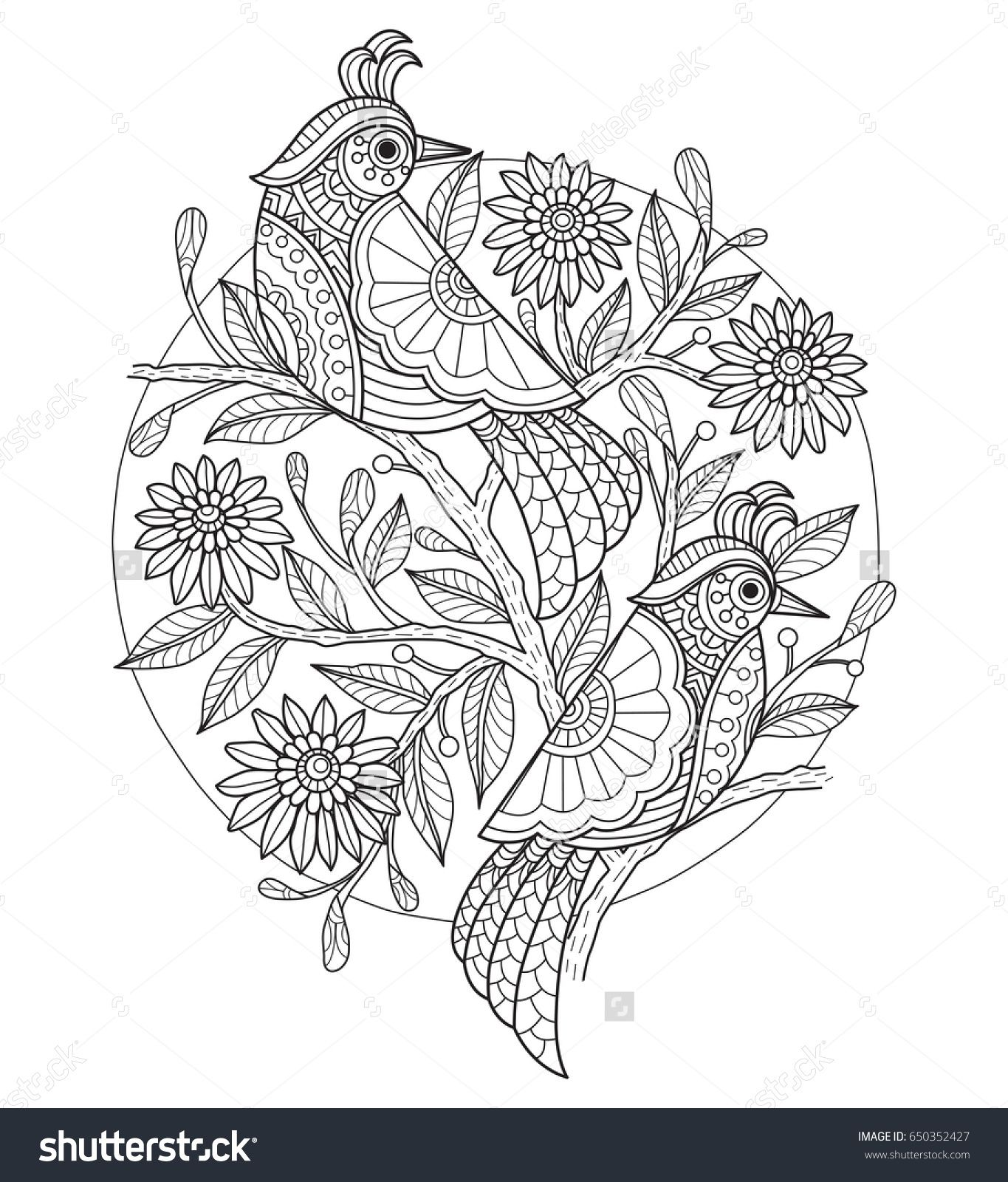 Birds and flower. Zentangle stylized cartoon isolated on white background. Hand drawn sketch illustration for adult coloring book, T-shirt emblem, logo or tattoo, zentangle design elements.