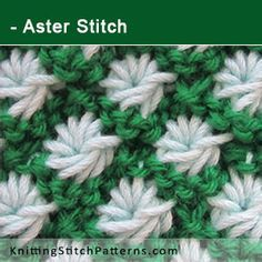 Aster stitch. Free Knitting Pattern includes written instructions and video tutorial.