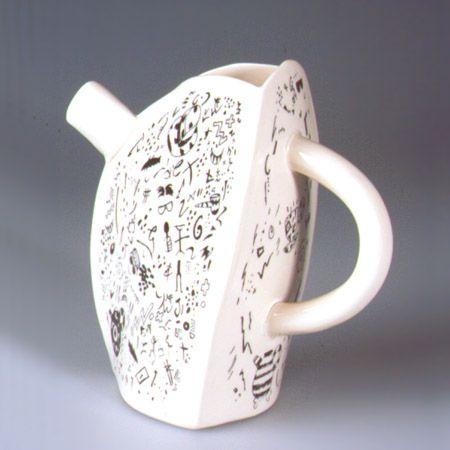'Ibata, Ryoji & Interpreter Pot', Jug, porcelain, cream coloured with black transfer print, 1991, H.17.5cm Paul Scott - Taking Tea Aberystwyth Ceramics Touring