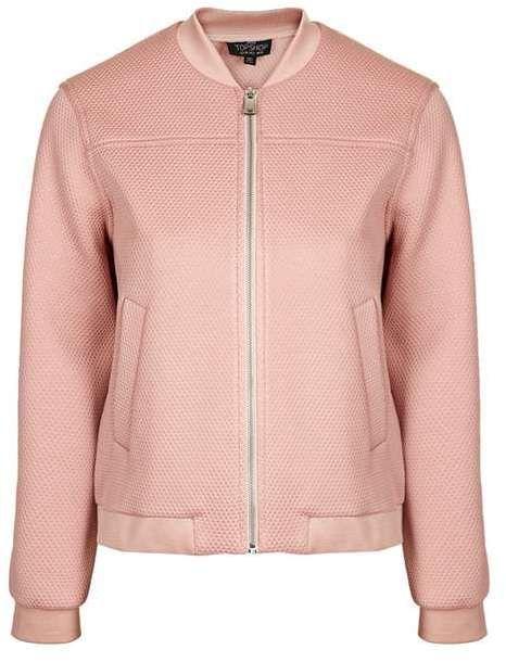 TOPSHOP Dusty pink petite textured bomber jacket $110