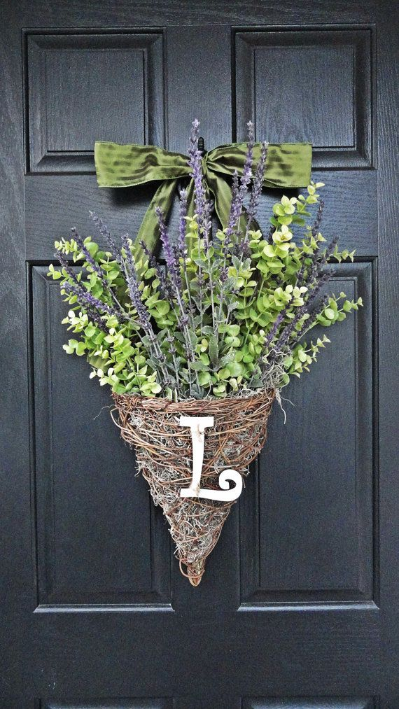 Lavender And Eucalyptus Hanging Wicker Basket Spring And