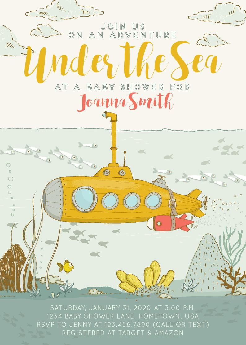 Under The Sea Submarine Baby Shower Invitation Template Digital