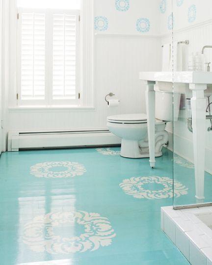 Bold Blue Floors | Pinterest - Badkamers en Badkamer