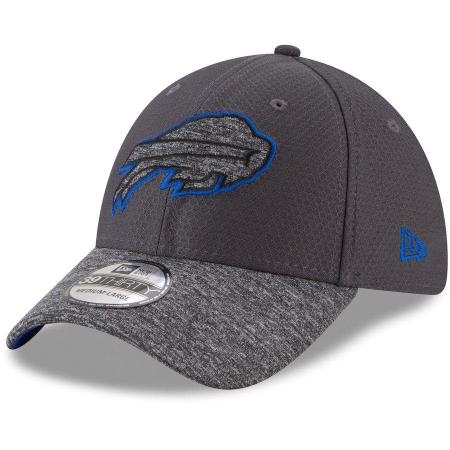 5e39fa69e Men s Buffalo Bills New Era Graphite Heathered Gray Popped Shadow 39THIRTY  Flex Hat
