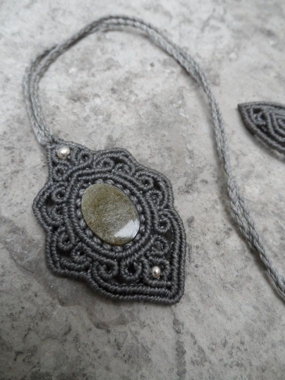 Gold sheen Obsidian - Macrame pendant with 925 silver - stone size approx…