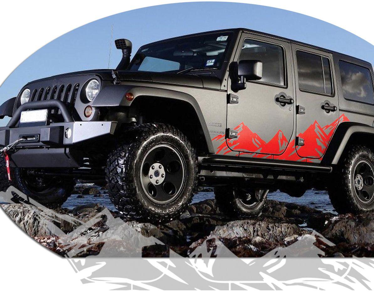 Jeep Wrangler Mountain Range Body Side Graphics Kit 2007 2015